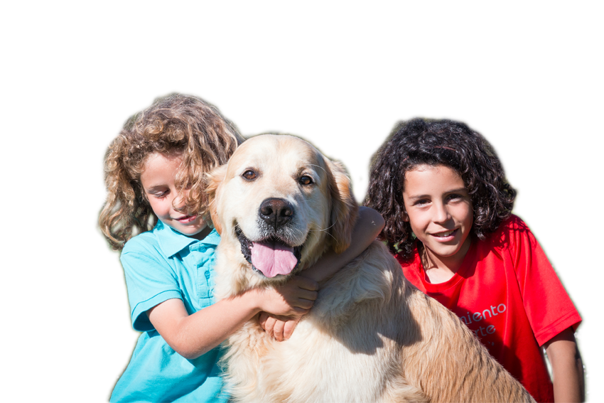 Niños con goldern retriever